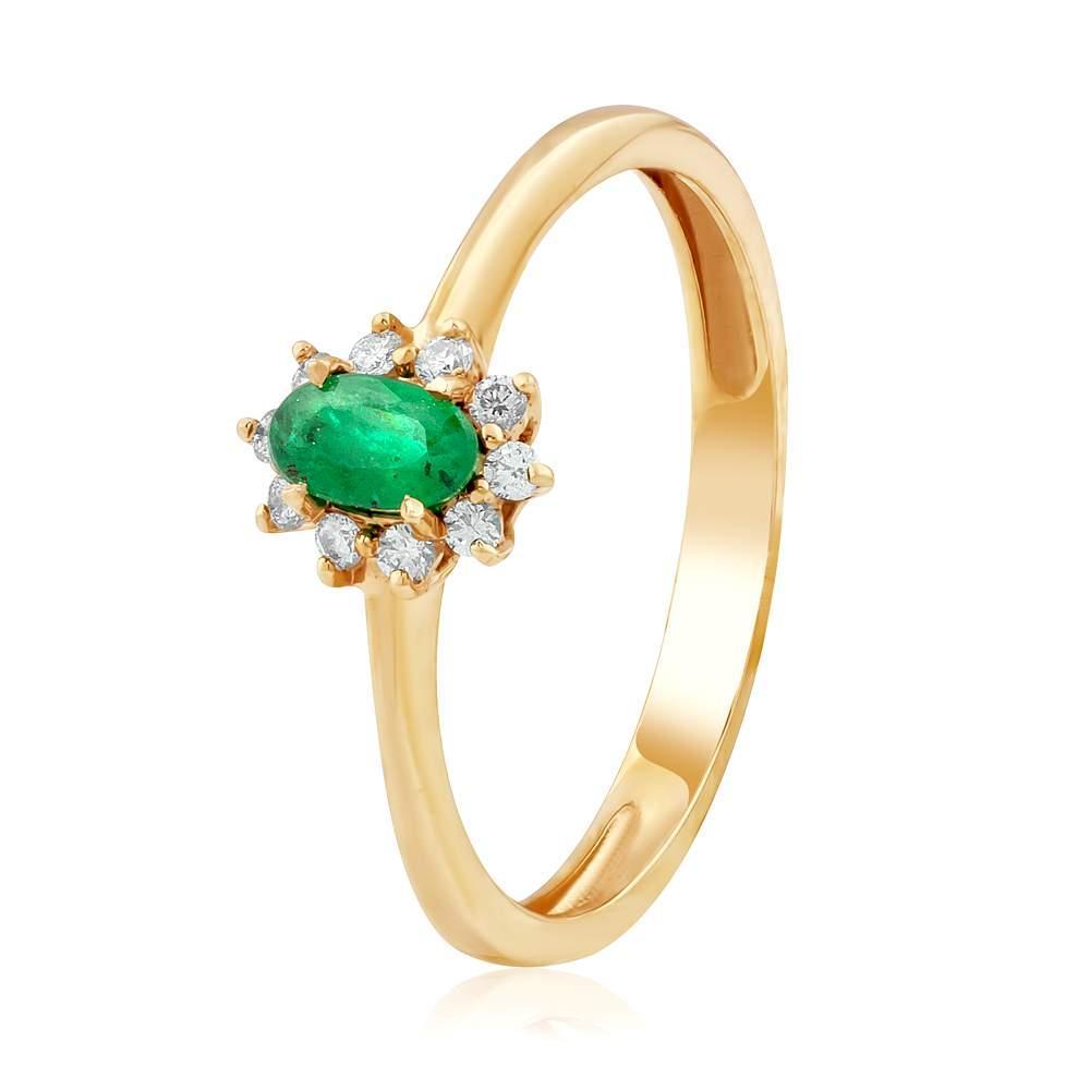 """Кольцо золотое с изумрудом и бриллиантами """"Неаполь"""", КД7550СМАРАГД Eurogold"""