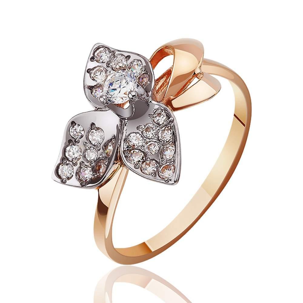 Золотое кольцо с цветком из белого золота с цирконами, КД0184 Eurogold