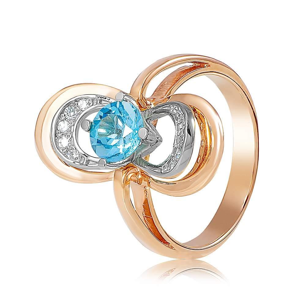 """Золотое кольцо с топазом """"Цирцея"""", комбинированное золото, КД4063ТОПАЗ Eurogold"""