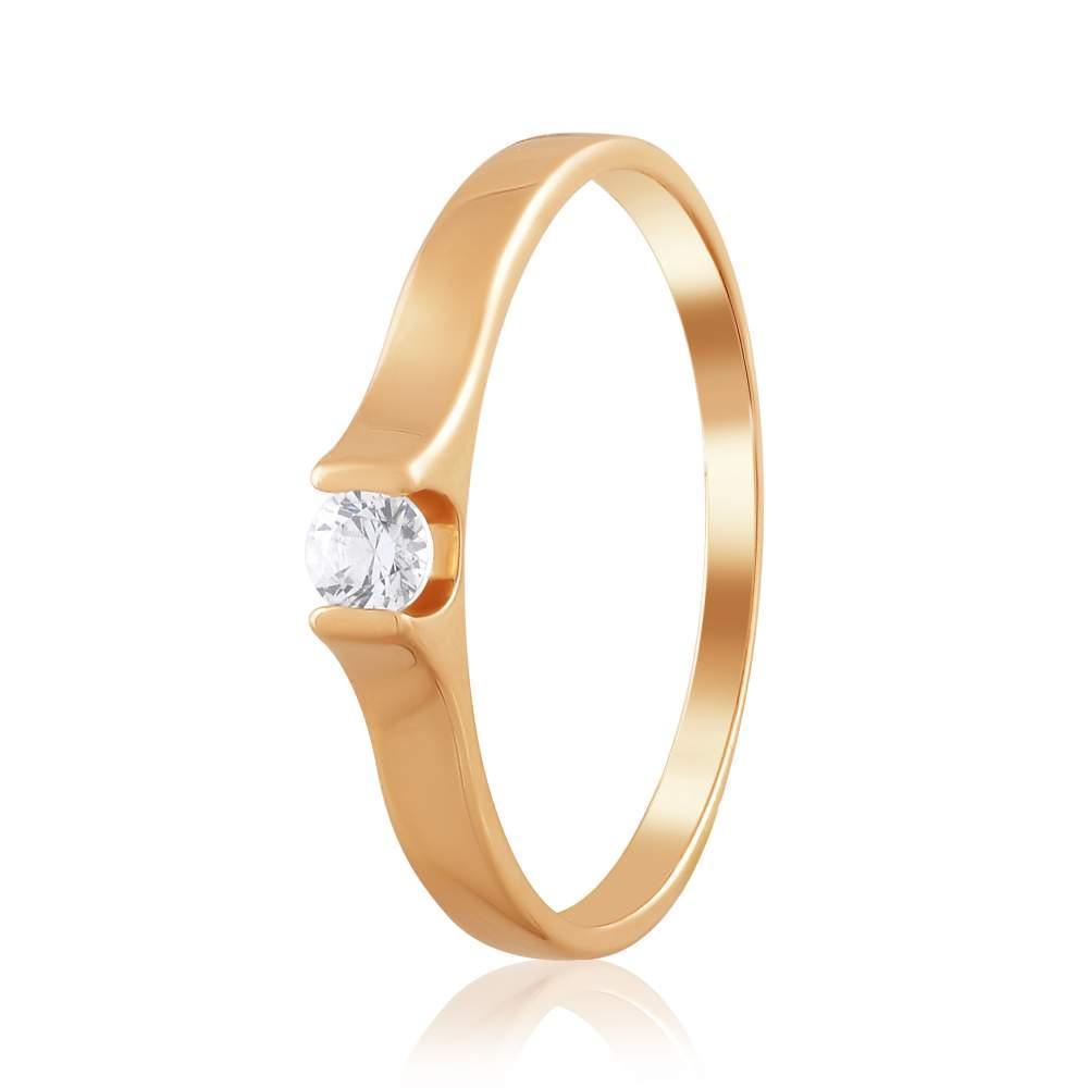 Кольцо золотое  с камнем SWAROVSKI Zirconia,КД4198SW Eurogold