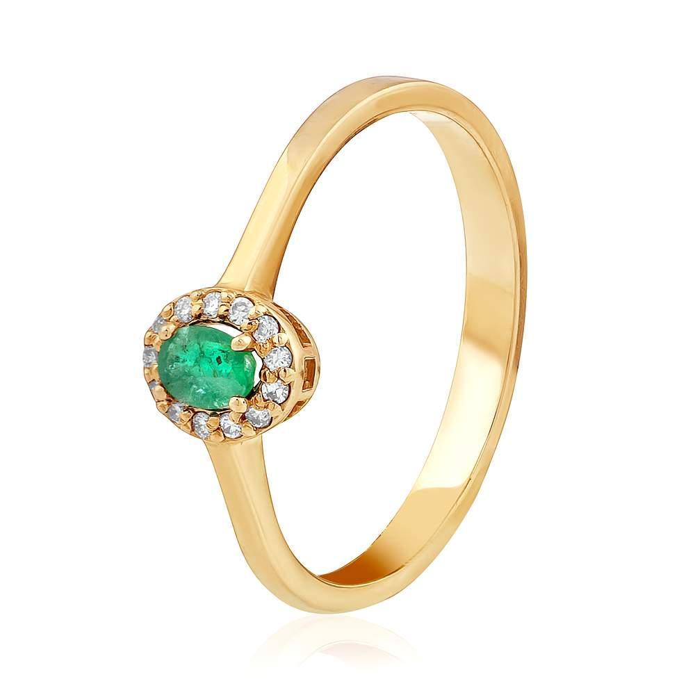 """Золотое кольцо с изумрудом и бриллиантами """"Флоренция"""", КД7554СМАРАГД Eurogold"""