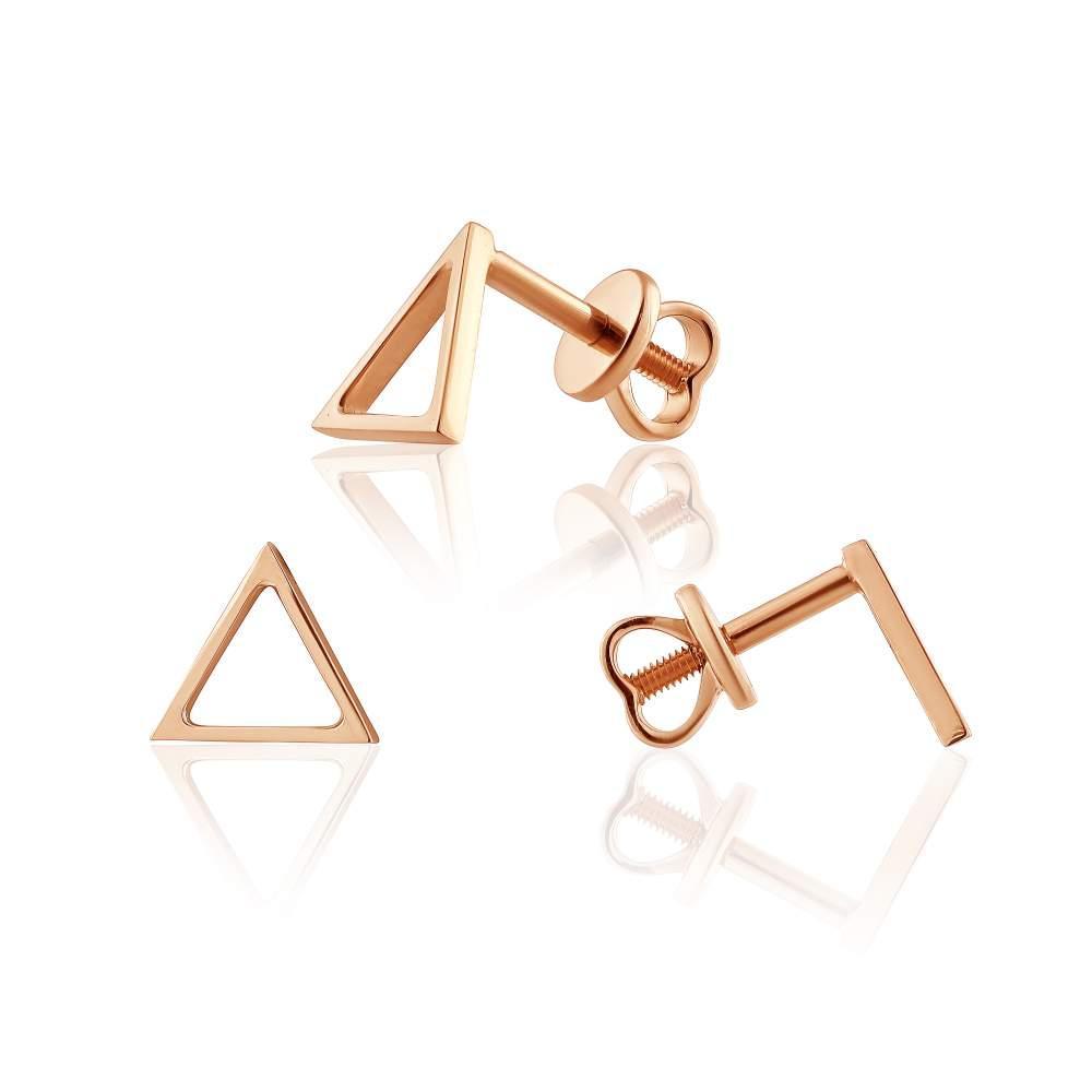 """Золотые треугольные серьги без вставок в стиле """"Модернизм"""", С0428G Eurogold"""