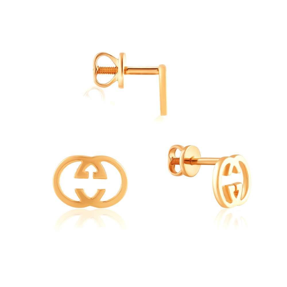 Золотые серьги-пусеты без вставок на закрутке, С0564G edem