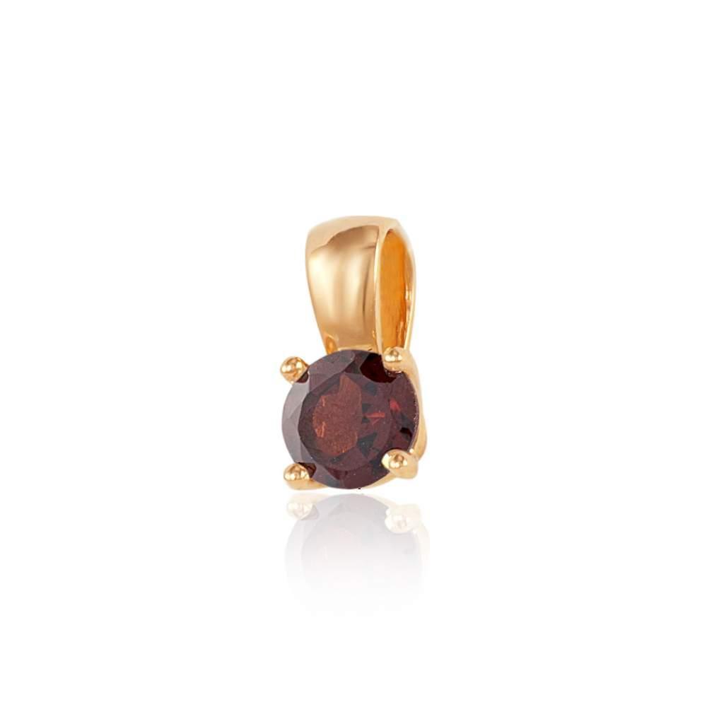 Золотая подвеска с камнем гранат, красное золото, П4100ГРАНАТ Эдем