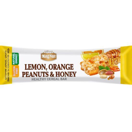 "Батончик MagNut ""арахис,цукаты,лимон,апельсин 35г"