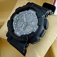 Ударопрочные, влагозащищенные спортивные наручные часы Casio G-Shock GA-100 черного цвета с черным циферблатом