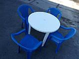"""Комплект пластиковой мебели """"Волна""""! Белый стол + 4 синих кресла!, фото 7"""