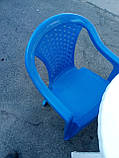 """Комплект пластиковой мебели """"Волна""""! Белый стол + 4 синих кресла!, фото 6"""