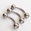 Пирсинг.. Микробанан (1.2х8х4мм) для пирсинга брови с прозрачными кристаллами. Сталь 316L.