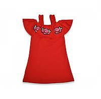 Платье летнее детское для девочки трикотажное с цветами