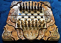 Шахматы-нарды-шашки 3 в 1 ручной работы