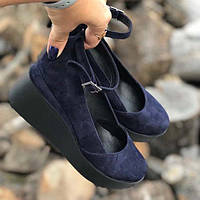 Женские туфли на платформе замша синие ZS0043