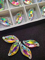 Стразы пришивные Копия Сваровски, Листики 9х20 мм Crystal АВ, стекло, фото 1