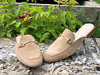 Женские туфли без каблука Мюлли замша беж Uk0629