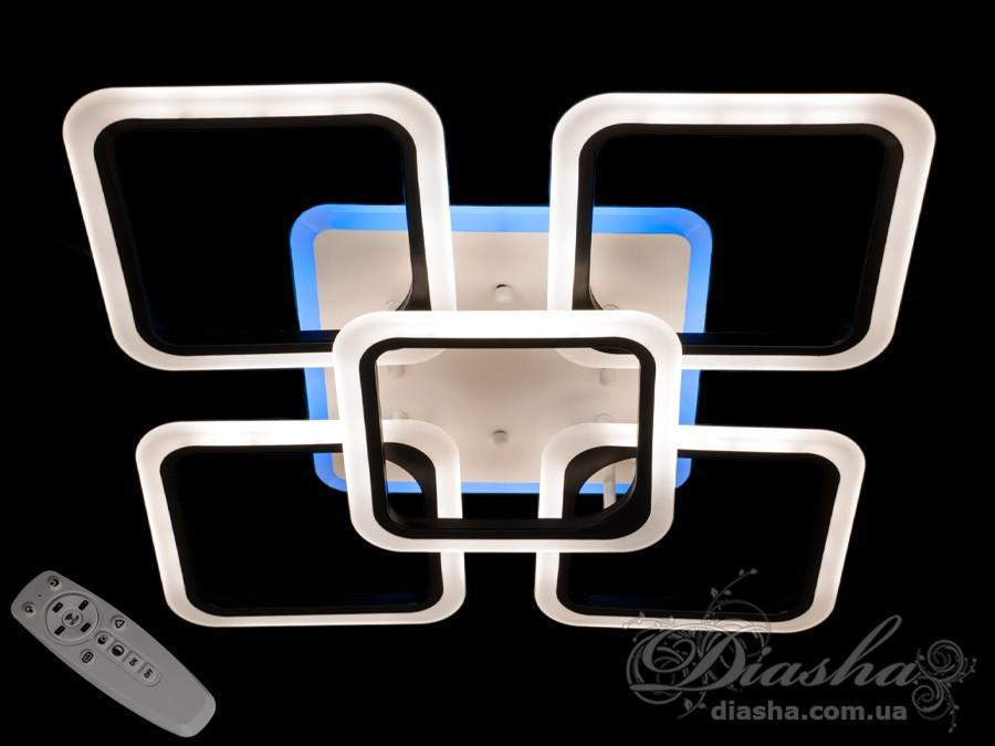 Люстра Светодиодная На 5 Квадратов С Подсветкой и пультом 115 Ват &A8060/4+1BK LED dimmer