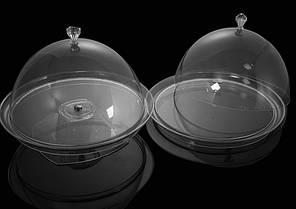 Крышка-колпак с блюдом для торта акрил 34х34х22 см прозрачная, пластиковая