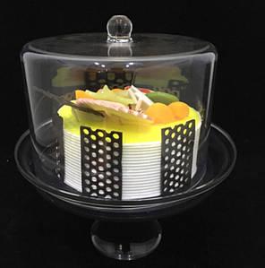 Подставка для торта с крышкой акрил 19х19х25 см