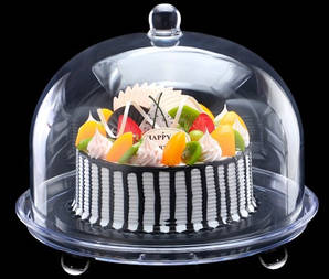 Подставка для торта с крышкой акрил 34.5х34.5х28 см