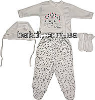 Детский костюм рост 56 (0-2 мес.) интерлок белый на девочку (комплект на выписку) для новорожденных Р-156