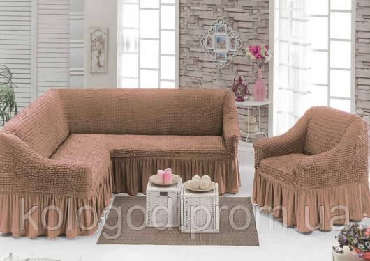 Комплект Чохлів На Кутовий Диван Та Крісло З Оборкою Модель 211