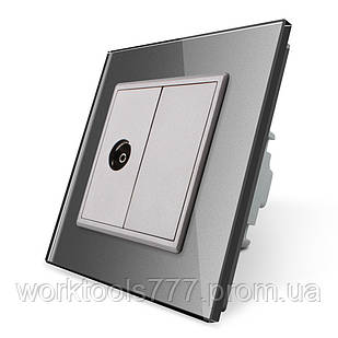 ТВ розетка Livolo серый стекло (VL-C791V-15)