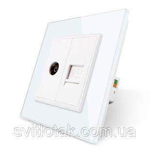 Компьютерная розетка RJ-45 ТВ розетка Livolo белый стекло (VL-C791VC-11)