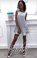 Женское короткое платье ,3 цвета :  белый+персик, белый+серый, белый+розовый , 42-44, 44-46  , код 0392, фото 1
