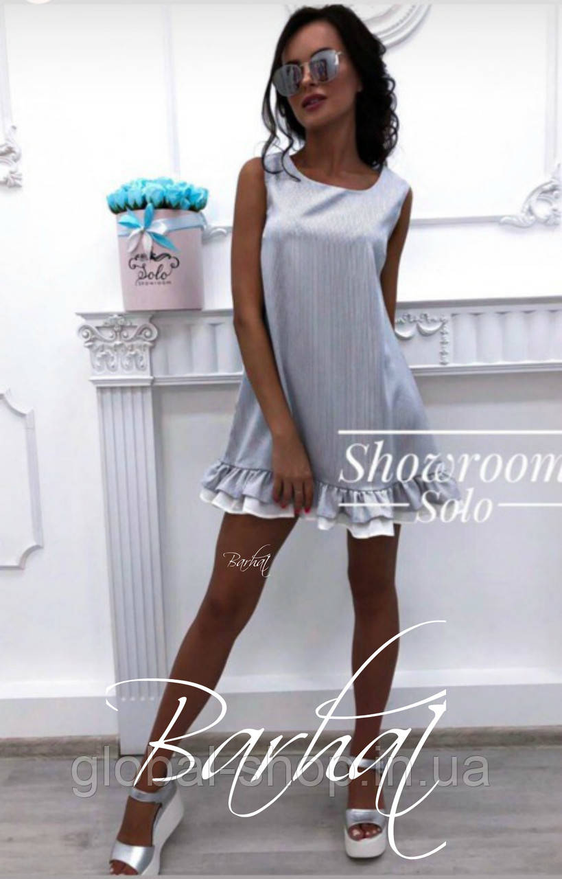 Женское короткое платье ,3 цвета :  белый+персик, белый+серый, белый+розовый , 42-44, 44-46  , код 0392