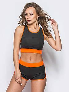 Спортивный костюм шортами Issa Plus 9775 черный с оранжевым