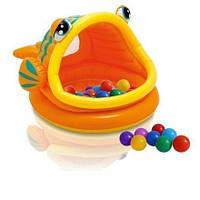 Детский надувной бассейн Intex 57109-1 «Ленивая рыбка», 124 х 109 х 71 см, с навесом, с шариками 10 шт