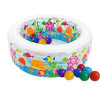 Детский надувной бассейн Intex 58480-1«Аквариум», 152 х 56 см, с шариками 30 шт