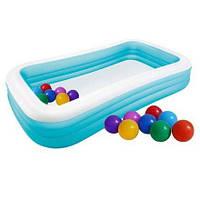 Детский надувной бассейн Intex 58484-1 прямоугольный, 305 х 183 х 56 см, с шариками 30 шт