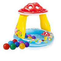 Детский надувной бассейн Intex 57114-1 «Грибочек», 102 х 89 см, с шариками 10 шт