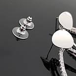 Серьги-гвоздики, овальной формы, 925 проба, фото 2