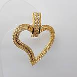 Серьги сердечки, позолоченные, большие, фото 3