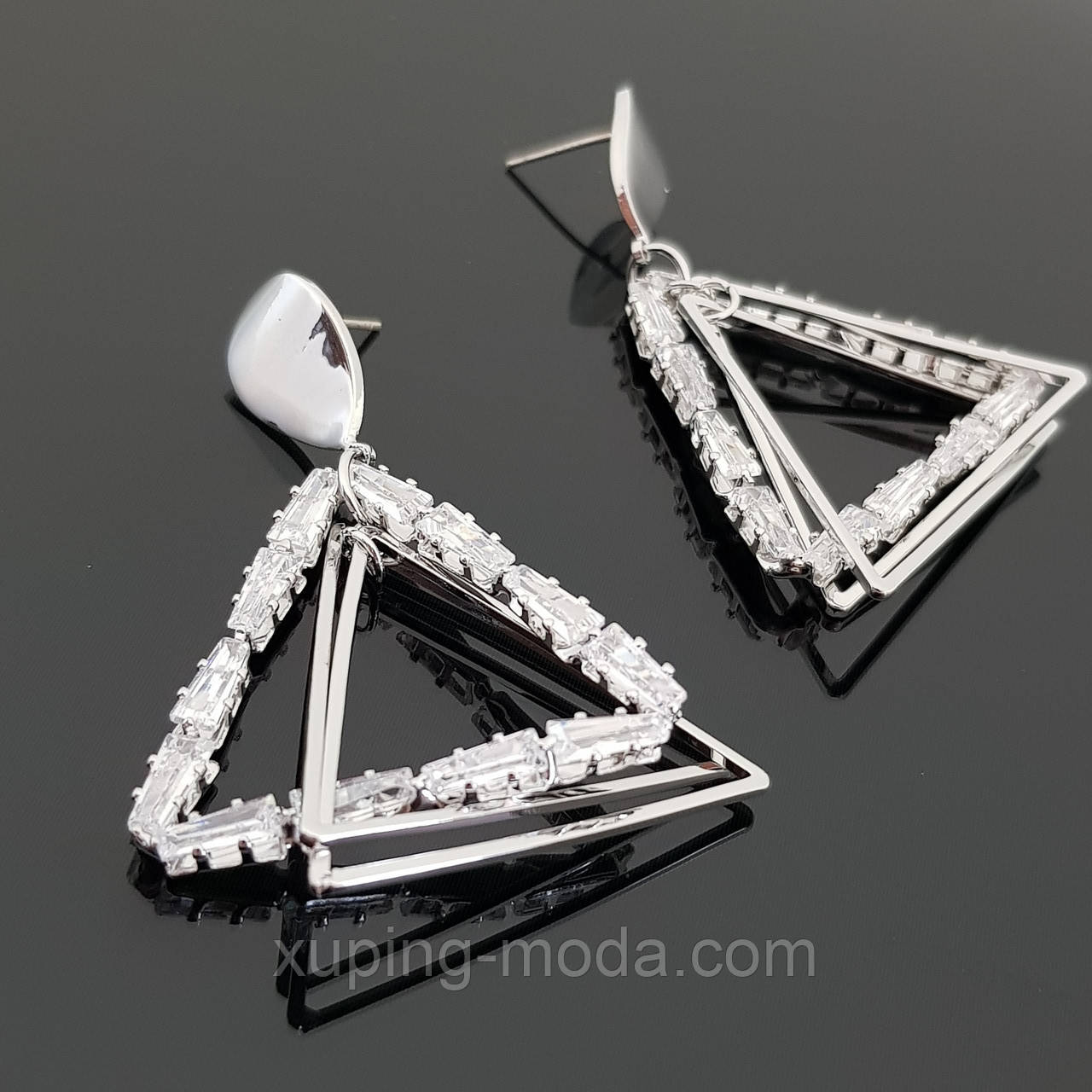 Сережки-треугольники, сфера, 925 проба