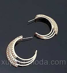 Серьги-кольца, гвоздики, позолоченные