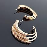 Серьги-кольца, гвоздики, позолоченные, фото 2