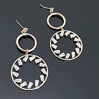 Дизайнерские серьги-кольца, с камнями, позолоченные