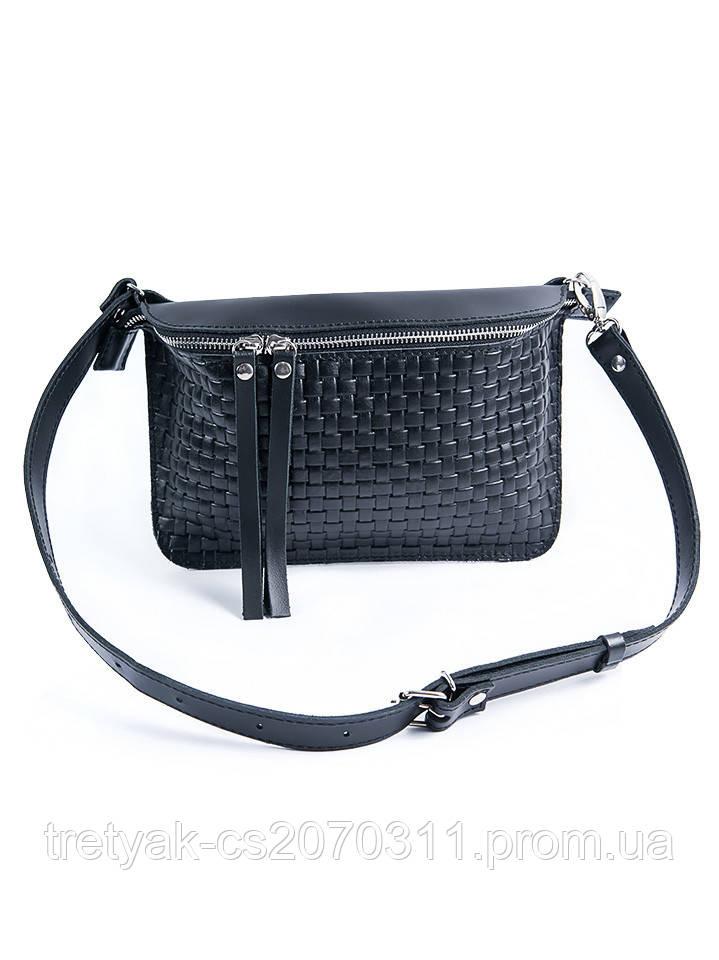 Поясная кожаная сумка черная 6928-11