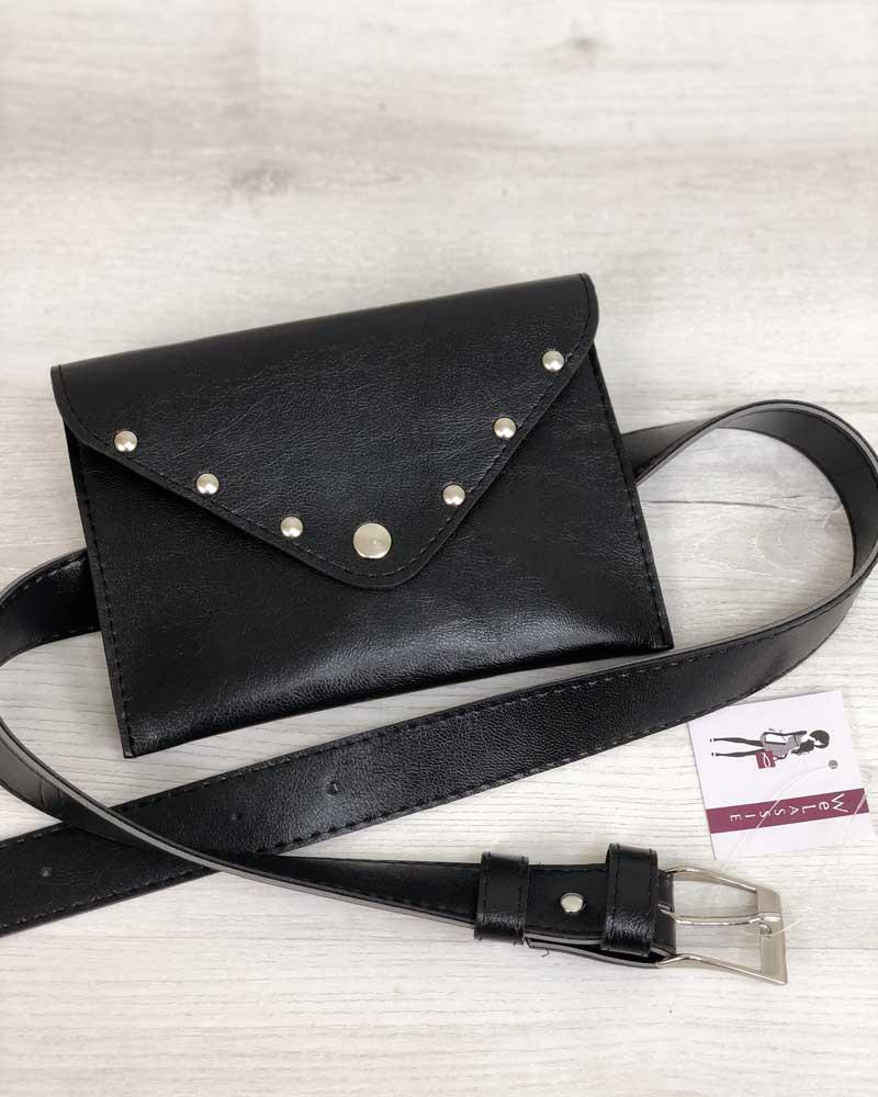 Черная женская поясная сумка