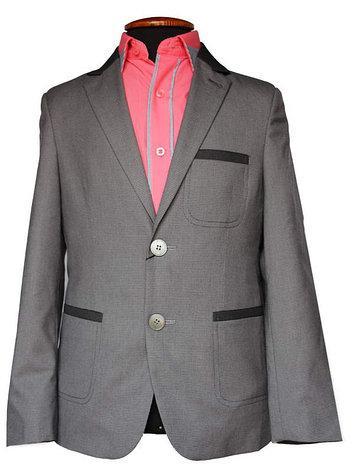Пиджак школьный для мальчика (152-170) подростковый серый в мелкую клетку с налокотниками