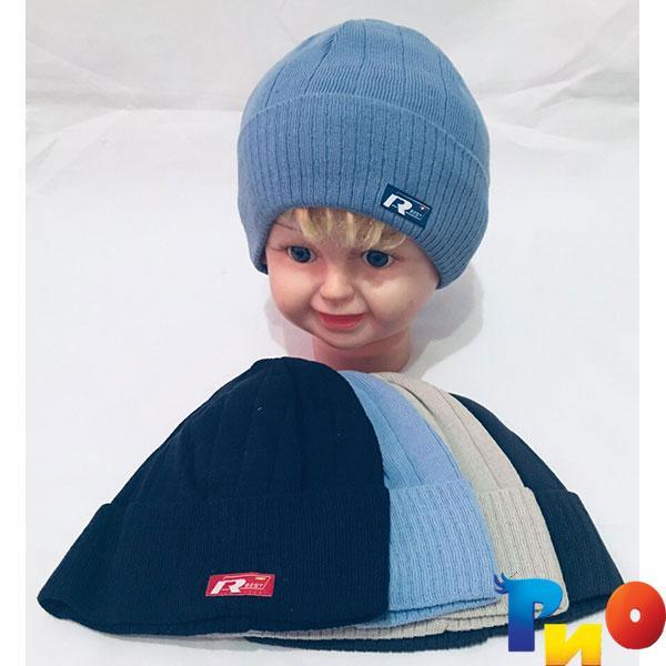 Детская вязанная шапочка для мальчиков р-р 50 (5 ед в уп) NA_055443