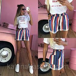 Женские стильные льняные шорты в полоску