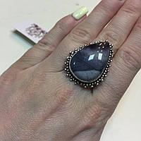 Кольцо яшма мукаит в серебре. Перстень капля с мукаитом 18,2 размер Индия