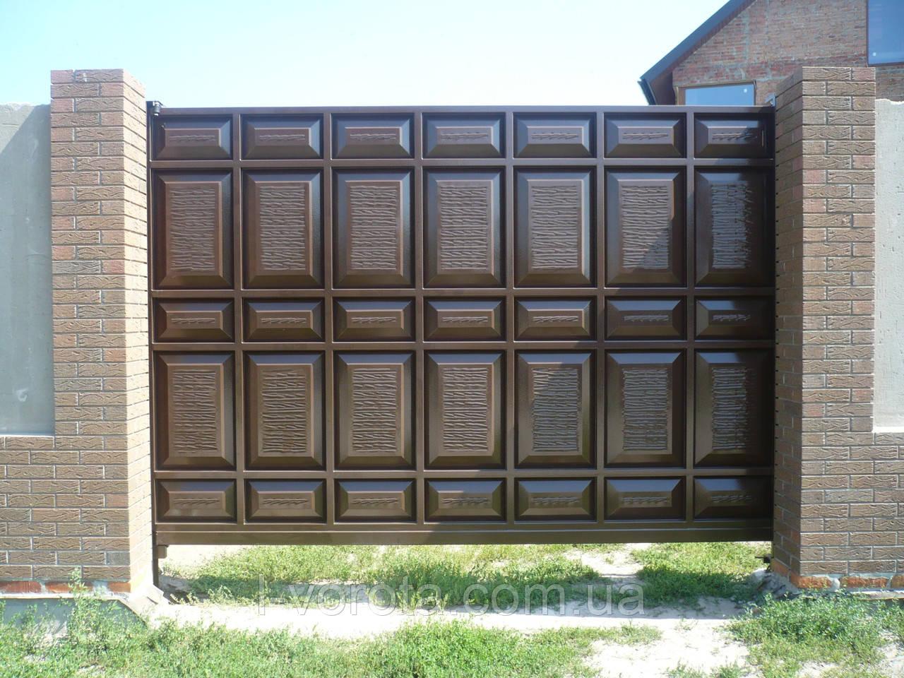 Откатные ворота из металлической филенки 3500*2500 (асимметричные филенки)