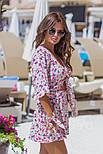 Женский стильный комбинезон-шорты с цветочным принтом ос завязкой (в расцветках), фото 5