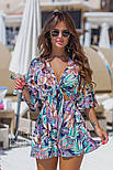Женский стильный комбинезон-шорты с цветочным принтом ос завязкой (в расцветках), фото 7