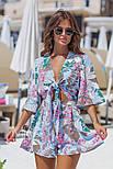 Женский стильный комбинезон-шорты с цветочным принтом ос завязкой (в расцветках), фото 10