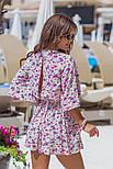 Женский стильный комбинезон-шорты с цветочным принтом ос завязкой (в расцветках), фото 6